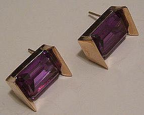 Modernist 14K Gold & Alexandrite Earrings