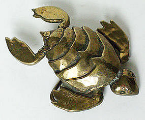 Carl Tasha Modernist Bronze Turtle Belt Buckle